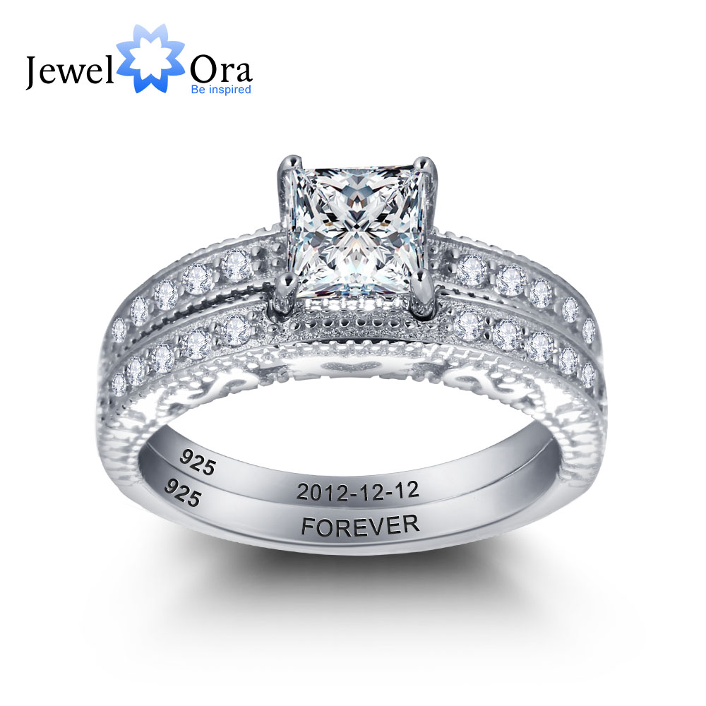 Personalized Engrave Ring Bridal Sets Heartshaped Lace 925 Sterling Silver  Women Rings For Wedding
