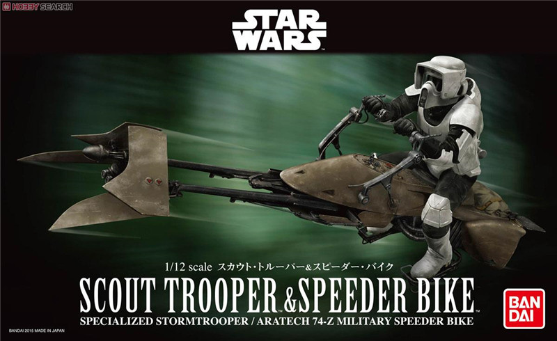 2015 New 2pcs/lot Genuine Bandai 1:12 Scale Star Wars scout trooper and speeder bike Plastic Model Building Kits DIY Toys 2015 new genuine bandai 1 48 scale star wars snow speeder modified incom t 47 airspeeder plastic model building kits diy toys