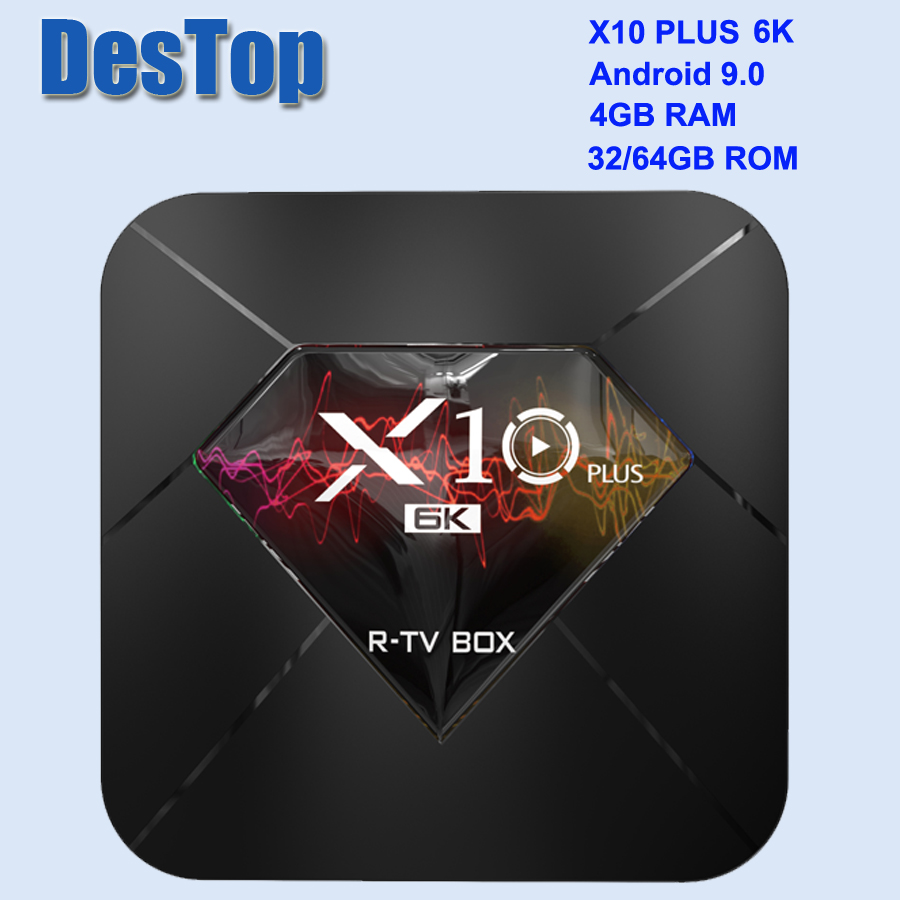 X10 Plus TV Box Android 9.0 4 GB + 32 GB/64 GB Allwinner Quad Core WiFi 3D décodeur-in Décodeurs TV from Electronique    1