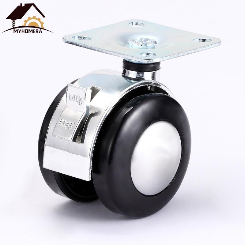 Myhomera 4Pcs 2 Inch Chair Wheel Furniture Caster Heavy Duty M8 / Plate Alloy Swivel Castor Wheels Trolley Rubber Protect Brake
