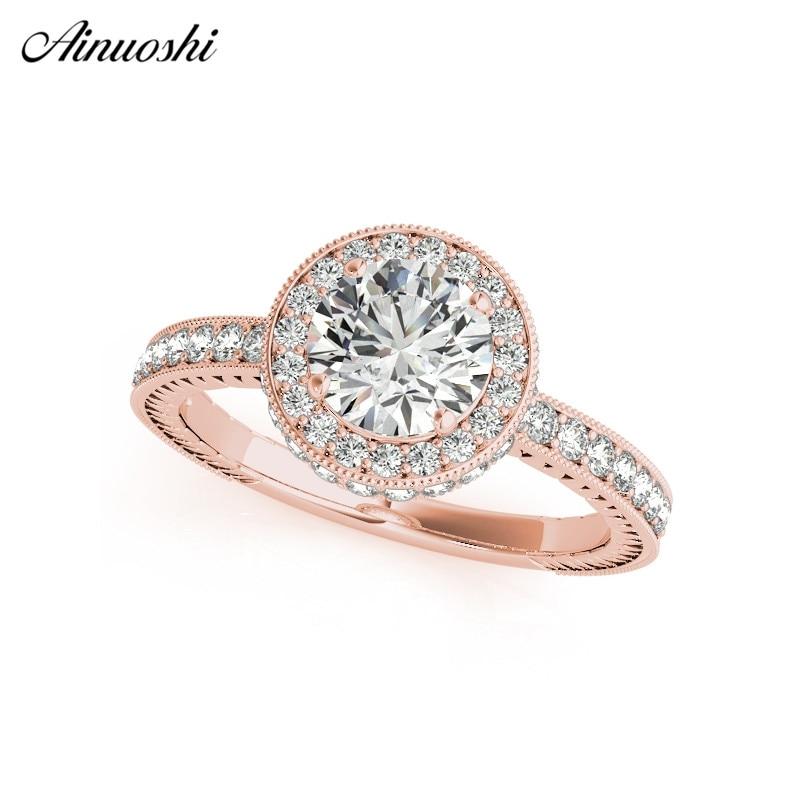 AINUOSHI classique 925 argent Sterling couleur or Rose taille ronde 1ct anneaux femmes de fiançailles de mariage Halo argent anneaux d'anniversaire