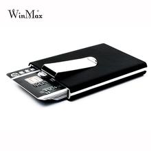 Winmax Brand Black jakości posiadacz karty kredytowej wodoodporna gotówka Money Pocket Box aluminium biznesu mężczyźni ID Card posiadacz Gift portfele tanie tanio Posiadacze kart IDENTYFIKATOROWYCH Karta kredytowa Uchwyt na kartę Q1-X Unisex Pole Hasp Masz 6 5 cm Moda 9 5 cm 115g