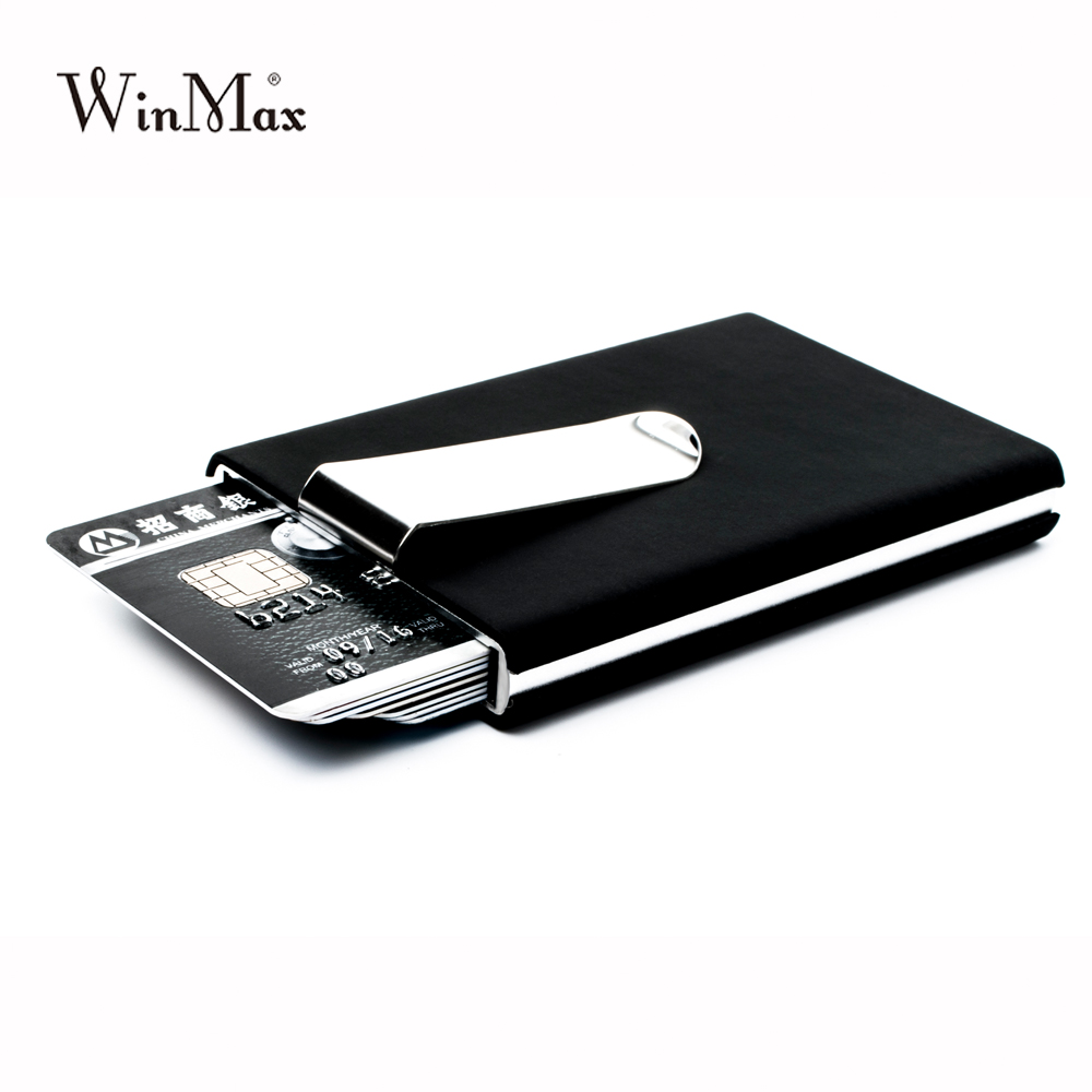 Winmax Marke Schwarz Qualität Kreditkarte Halter Wasserdichte Bargeld Geld Tasche Box Aluminium Business Männer ID Karte Halter Geschenk Brieftaschen