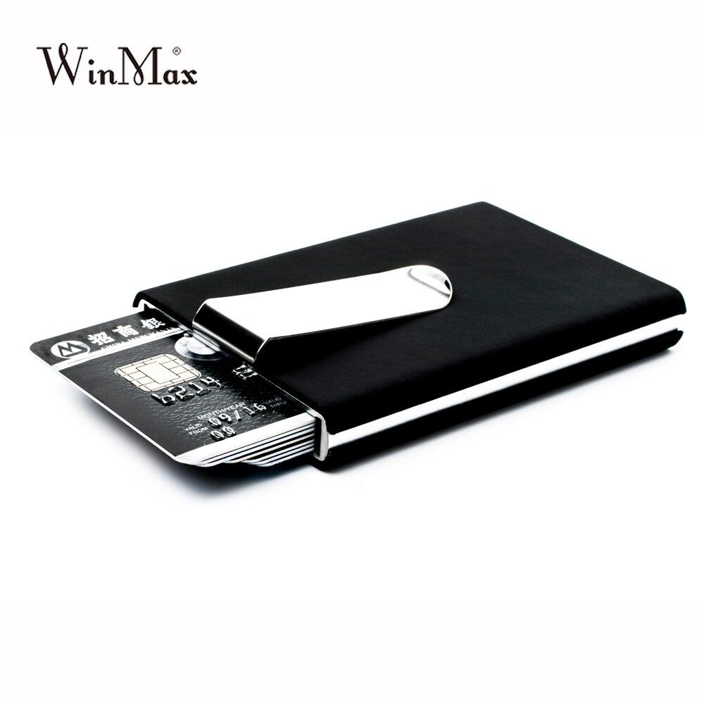 Winmax marca preto qualidade titular do cartão de crédito à prova dwaterproof água dinheiro bolso caixa de alumínio homens negócios id cartão titular presentes carteira