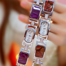 New Rectangle Purple Stone Women Watches Women Gold Bracelet Quartz Watch Ladies Steel Wrist Watch reloj mujer Drop Shipping все цены