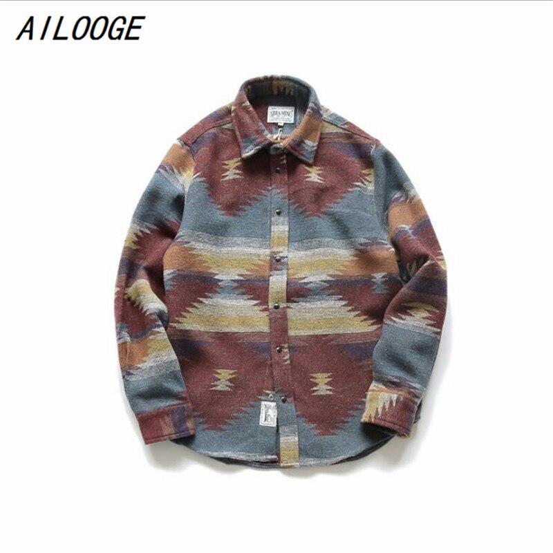 Ailooge 2018 folk-custom Camisas para hombres vintage lana ocio patrón hombres más tamaño streetwear chemise homme