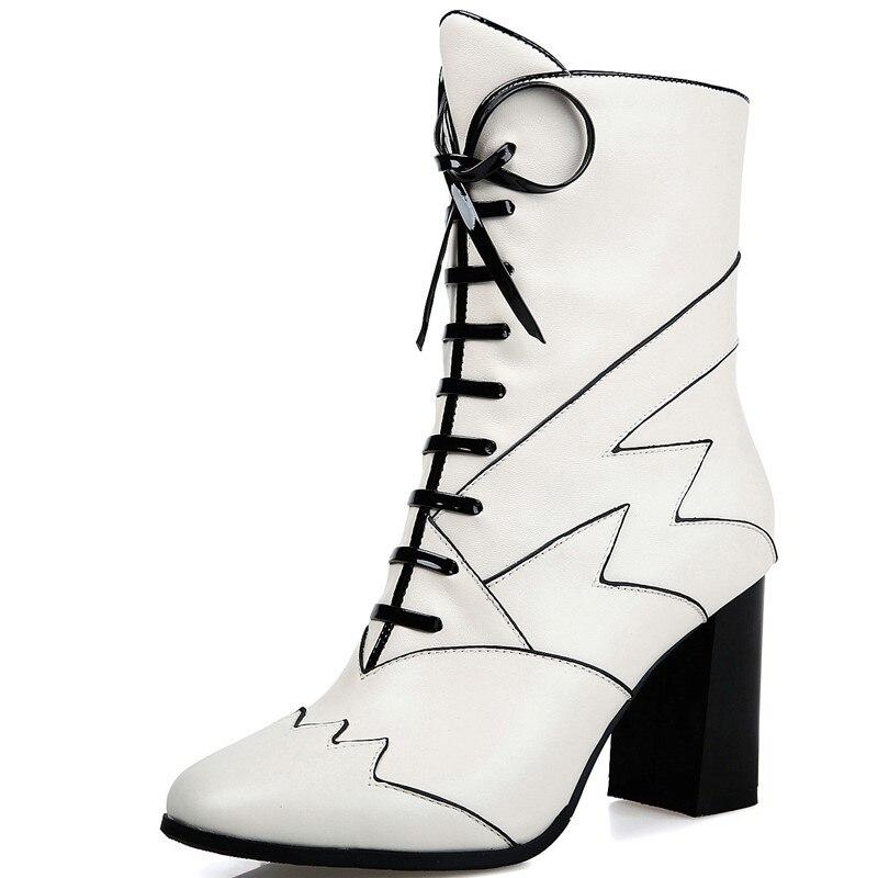 Chaussure femme Cheville bottes en cuir véritable bout rond automne Belle  carré talons hauts boot dames femme chaussures cc73d79323c9