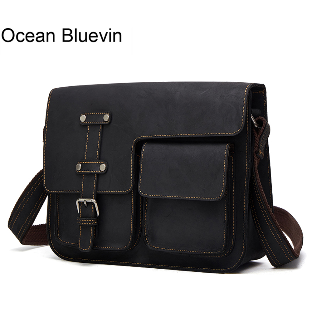 OCEAN BLUEVIN New Men Bags Vintage Men's Leather Briefcase Genuine Cowhide Leather Cross Body Handbag Messenger Bag Men Shoulder