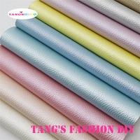 11PCS High Quality DIY Light Color Pearl Embossed PU Leather Set Synthetic Leather DIY Fabric 20x22cm