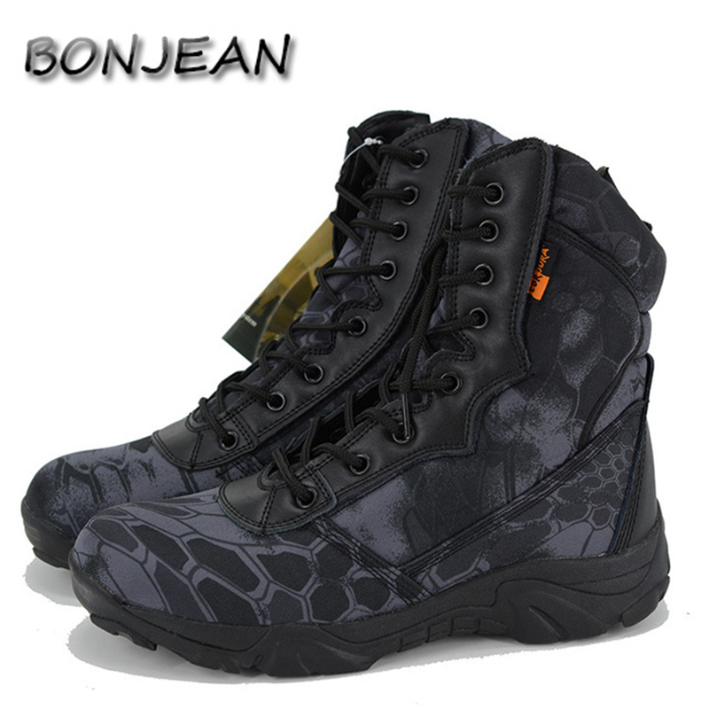 Men Military Tactical Boots High Top Canvas Round Toe Zipper Lace Up Combat Army Boot Mens Ankle Casual Desert Shoes Las botas