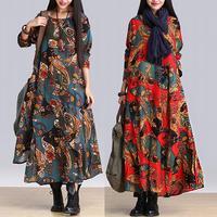 Women Dresses Arts Style woman irregular expansion long sleeve vintage Flower Print dress Robe Longue Femme Clothes