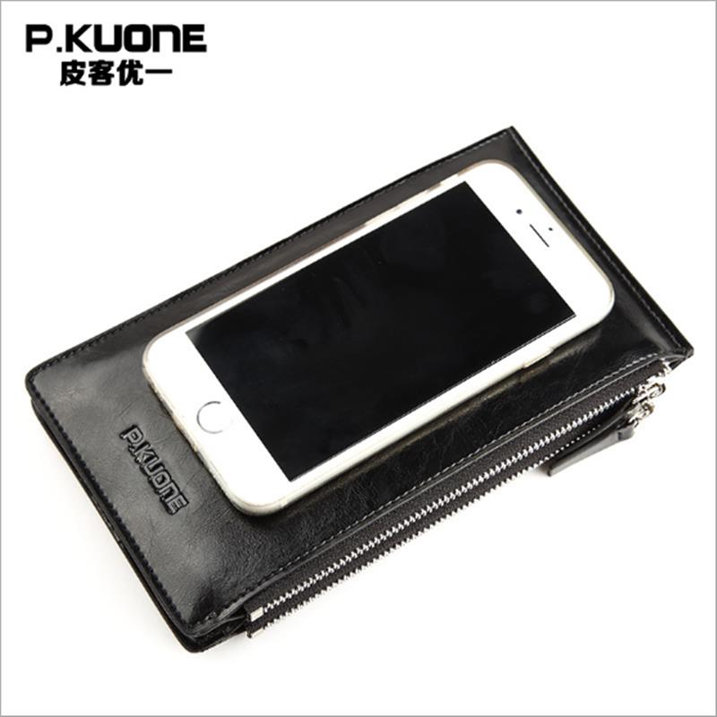 P.KUONE Leather Wallet Business Men Credit Card Holder Luxury Brand Coin Purse And Handbag Passport Cover Travel Male Clutch купить