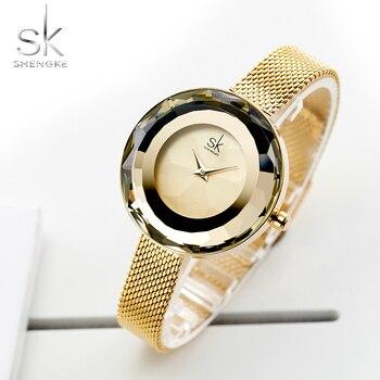 Shengke Fashion Luxury Ladies Watch Prism Fac Gold Steel Mesh Quartz Women Watches Top Brand Clock Relogio Feminino