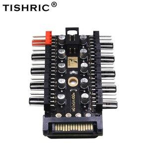 TISHRIC 1 to 10 PC Cooler Fan Hub Splitter Speed Controller PWM SATA 12V Power Supply Adapter Computer Mining