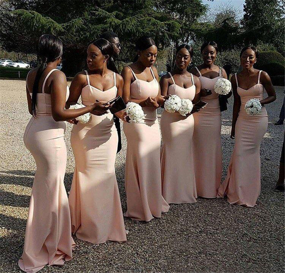 2019 New African Bridesmaid Dresses Spaghetti Strap Mermaid Elastic Satin Simple  Long Wedding Guest Dress Cheap 5b04b86aed49