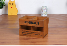 1PC Creative Wooden Organizer Storage box Pen Holder Flower Pot Desktop Tool Vase Multifunction Box JL 0938
