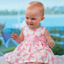 Summer pink baby dress with bowknot/Sleeveless round dots girl dress/2017 new arrived girls clothes DS21