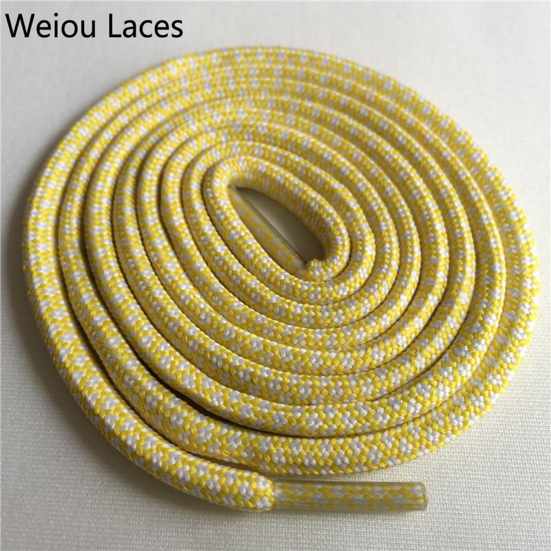 Weiou новые яркие цвета для пеших прогулок, двухцветные шнурки, сменные шнурки для обуви, круглые шнурки для баскетбола 750 - Цвет: 26White Yellow