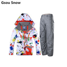 Gsou Snow Suit Men Winter Ski Jaket Mens Snowboard Jackets and Pants esqui traje ski hombre Skiing Jacket Men Outdoor