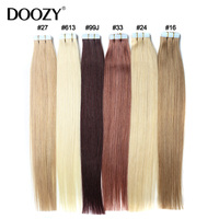 Doozy Tape Hair Extensions 16 18 20 22 24 20pcs/set Tape In Remy Human Hair Skin Weft Straight Brazilian Hair Extension