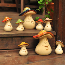 Cute mushroom family Ceramic Crafts miniature Figurine Mini fairy garden accessories lovely home decor creative wedding gifts