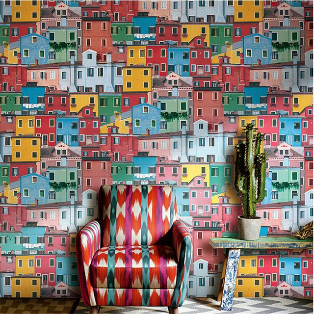 Beibehang Wallpaper Personality European Italian Town Color House