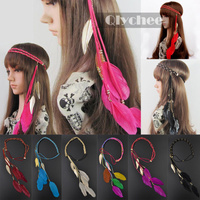 Qlychee Wedding Party Hairpiece Hair Accessories Band Indian Peacock Feather Pendant Headband Women Knitted Belt Hairband