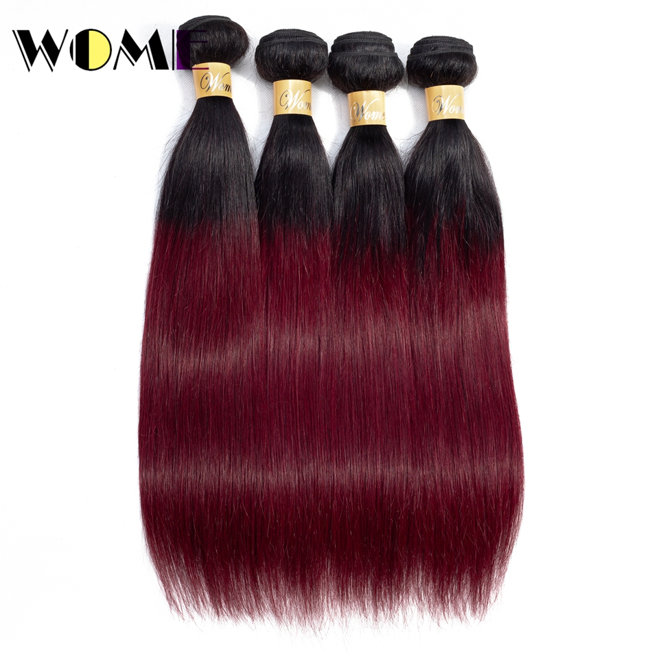 Human Hair Weaves Wome Mongolian Hair Weave Bundles T1b/99j Ombre Straight Human Hair 4 Bundles Black To Red Wine Color Hair Extensions Available In Various Designs And Specifications For Your Selection