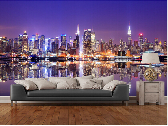 Custom photo wallpaper,Manhattan Reflections large 3d wallpaper mural for sofa kitchen Cafe tv background papel de parede