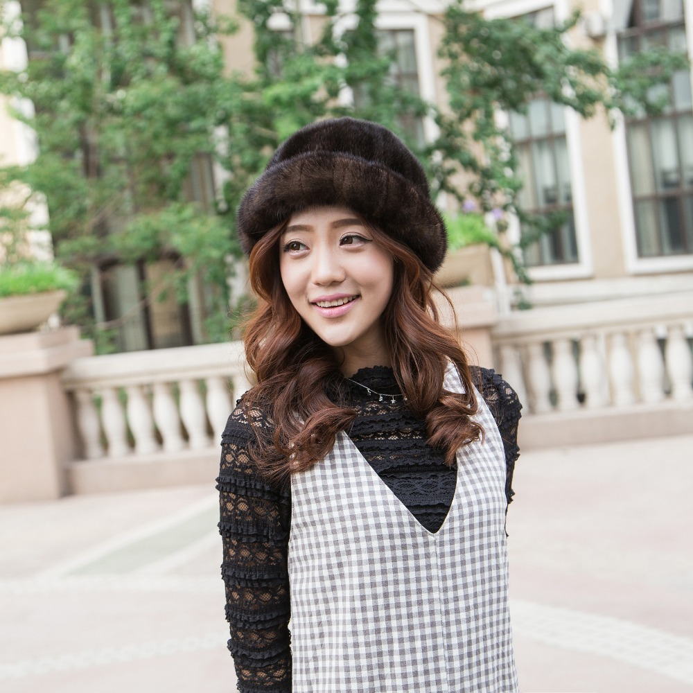 New arrivals, female brand high quality winter hats new women fashion hats fur mink warm genuine fur hat community
