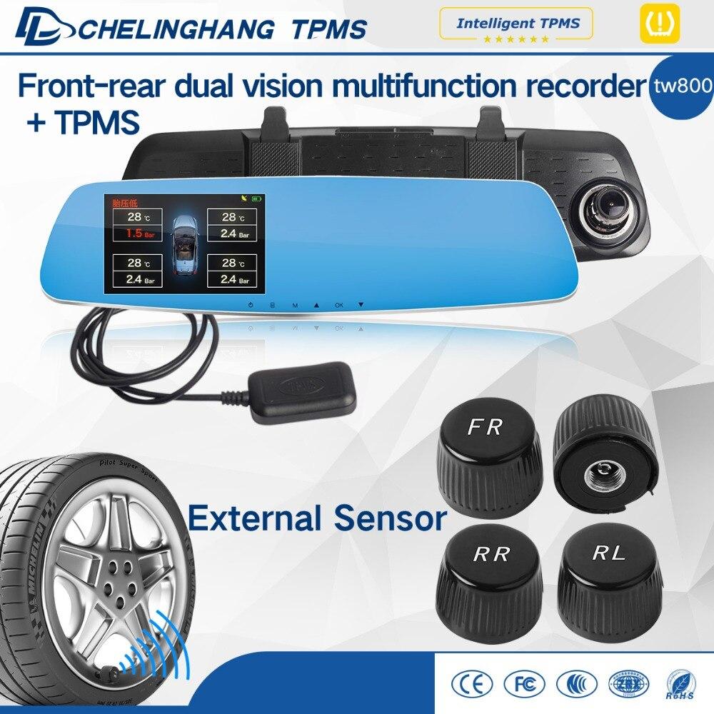 DLCLH DVR зеркало заднего вида вождения записи HD 1080 P TPMS с внешним датчиком инструменту диагностики для автомобиля детектор шин давление