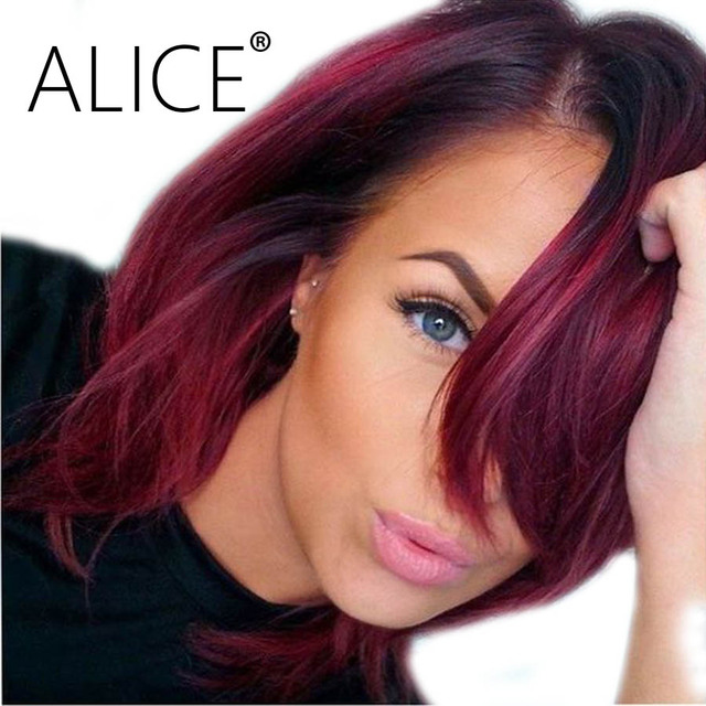 Alice Burgundy Lace Front Wig 99j Ombre Color Lace Front Bob Wigs Remy Lace Front Human Hair Wigs Straight Short Human Hair Wigs by Alice
