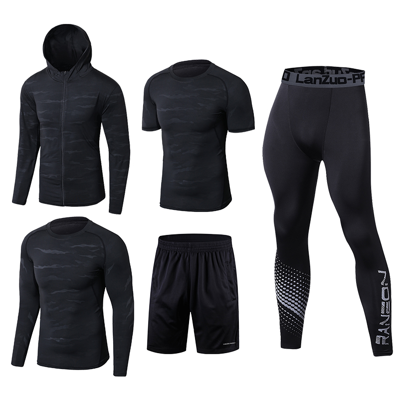 Image 2 - Quick Dry Running Set Men Soccer Basketball Tights Clothes Compression 5 pcs/set Sports Suit Gym Jogging Training Set Sportswear-in Running Sets from Sports & Entertainment on AliExpress