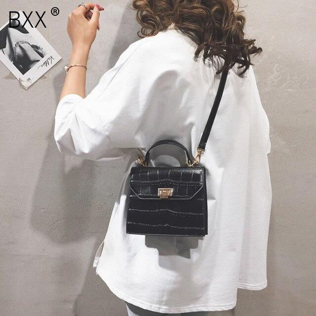 [BXX] bandolera de un solo hombro para mujer, solapa que combina con todo, bolso de mano de grano de piedra a la moda para mujer, bolso de cuero de PU para fiesta HF169 2020