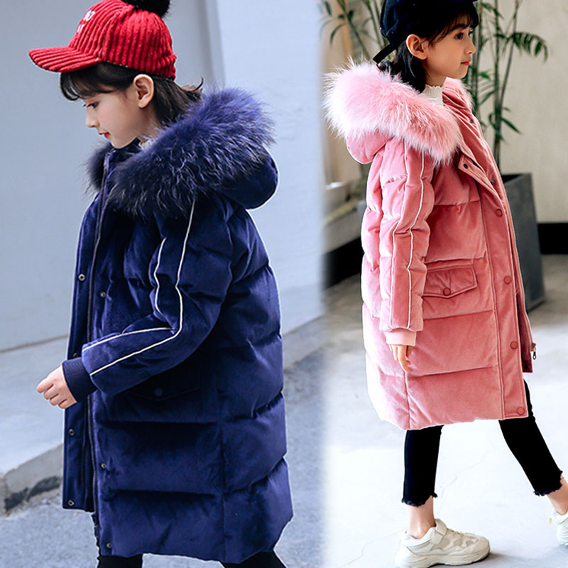 fur hooded snow wear velvet coats children winter jacket for girls outerwear clothing kids white duck down thick long jackets 2018 girls clothing warm down jacket for girl clothes 2018 winter thicken parka real fur hooded children outerwear snow coats
