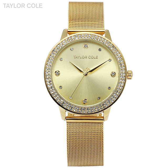 Taylor Cole Gold Dress Wrist Watch Clock Women Fashion Brand Casual Quartz Crystal Watches