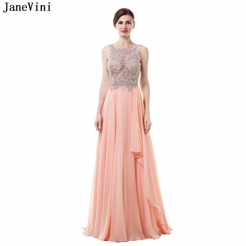 JaneVini Elegant Chiffon Long   Bridesmaid     Dresses   with Crystal Beaded A Line Sexy Sheer Back Floor Length Luxury Prom Party Gowns