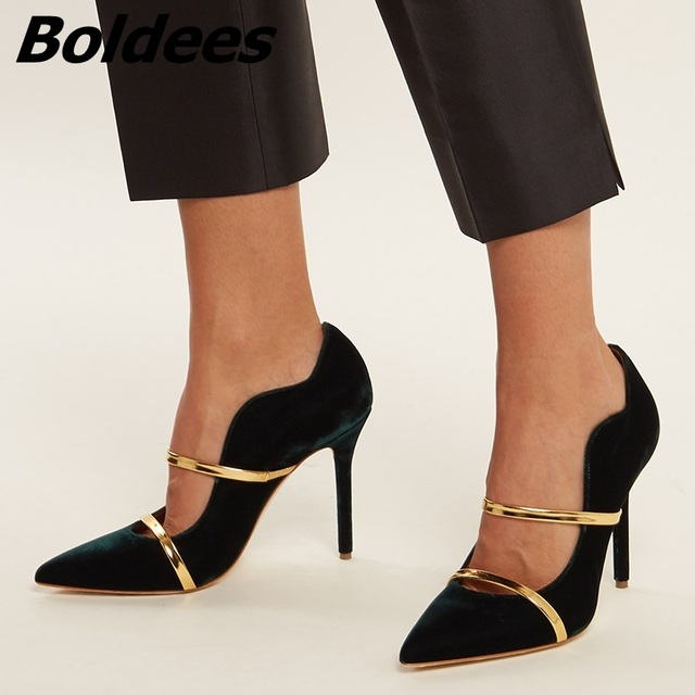 454bd04ce9b Boldees New Design Burgundy Suede High Heel Pumps Women Sexy Pointed Toe  Thin High Heels Metal Color Strap Party Dress Shoes Hot