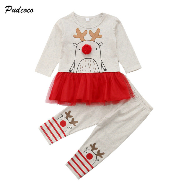 bbe0995ade Christmas Newborn Toddler Baby Girl Long Sleeve Cartoon Deer Tutu Dress Tops+Long  Pant Legging 2PCS Outfits Xmas Clothes Set