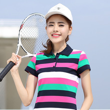 2017 M- 6XL large size muticolor striped polo shirt women summer spring polo women short sleeve polo femme 2017 polo shirt