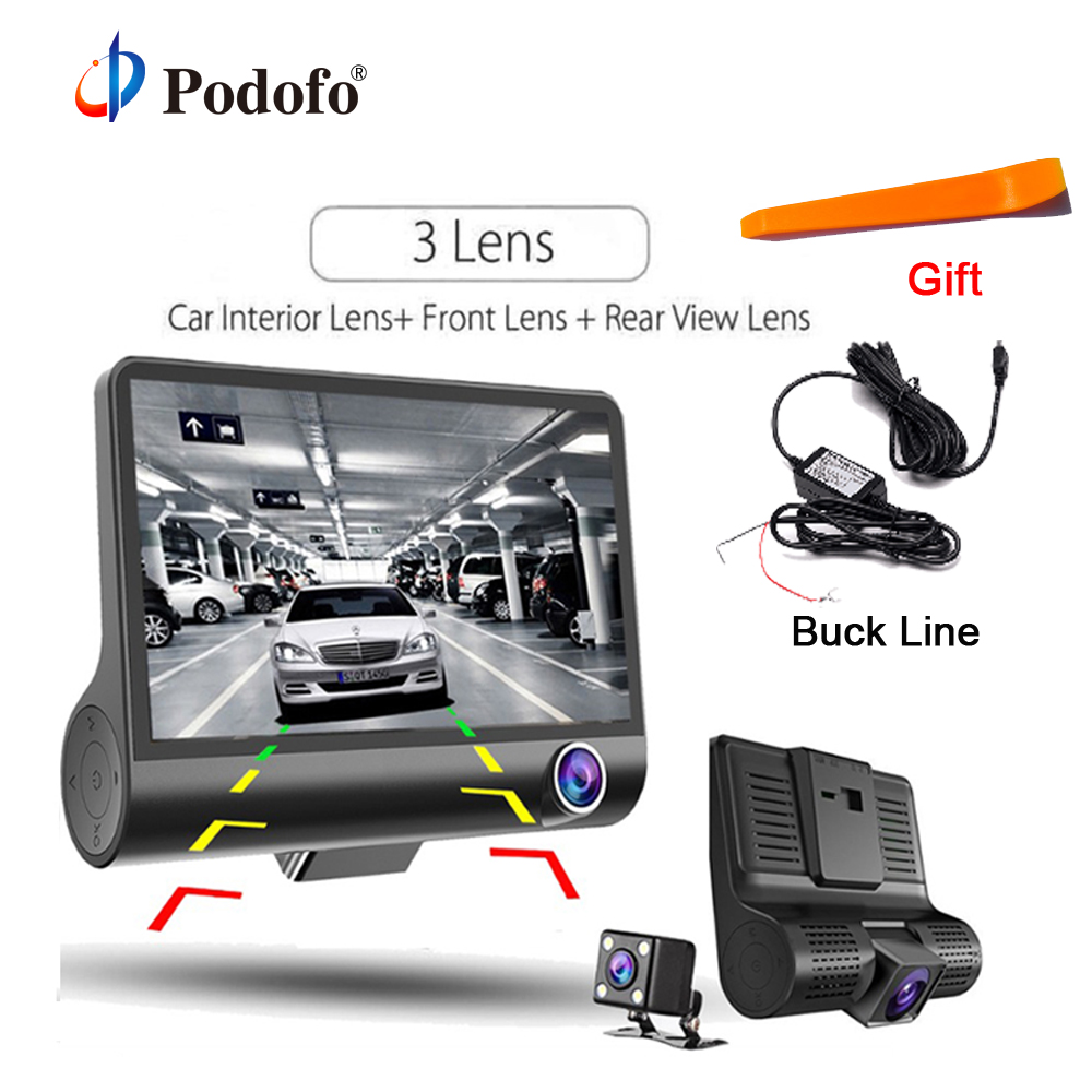 Podofo Three-way Car DVR 4.0 FHD 1080P Dual Lens Camera Registrator Adjustable 170 Wide-angle Night Vision Dashcam Recorder