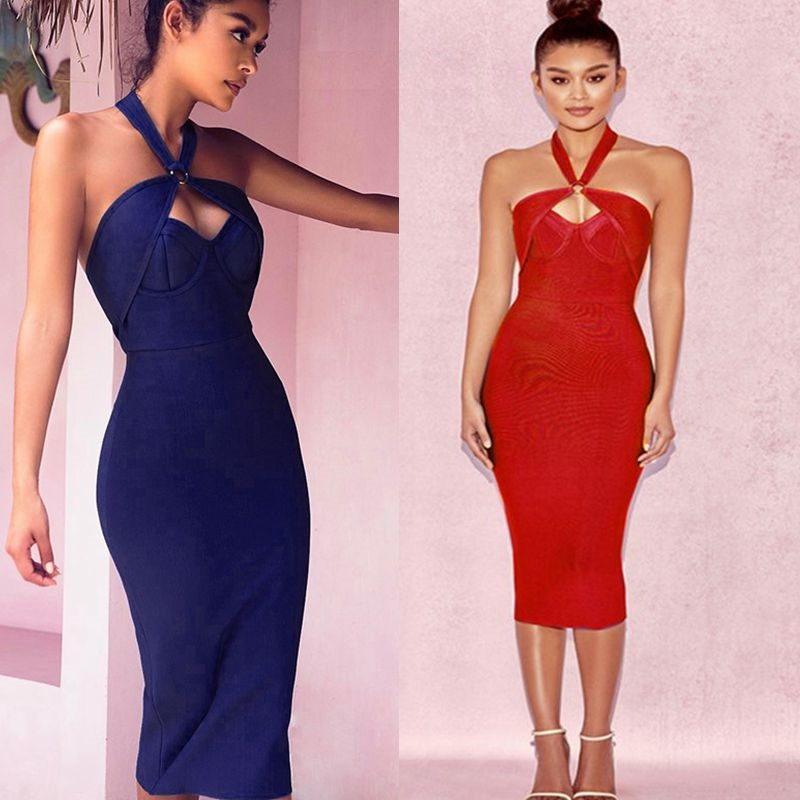 black friday off shoulder womens summer dress backless red bandage 2017 halter gown short evening party special occasion dresses
