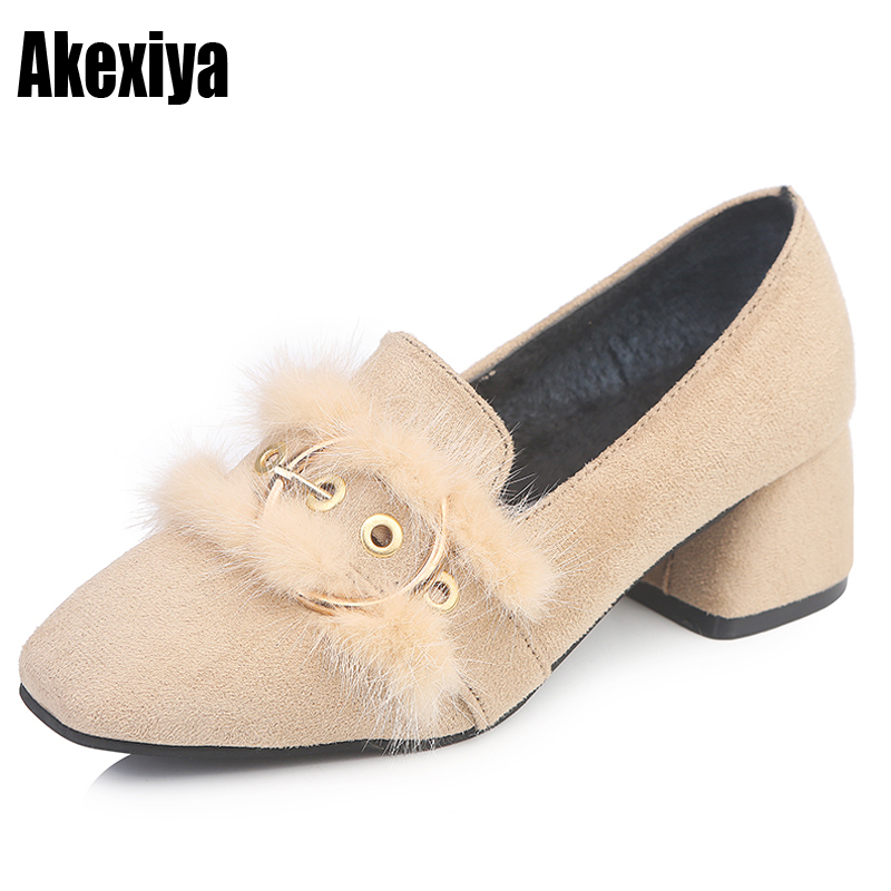 Women's Shoes Square-Head The-Middle-Heel-Set Rubber with of Artificial Short Plush Metal