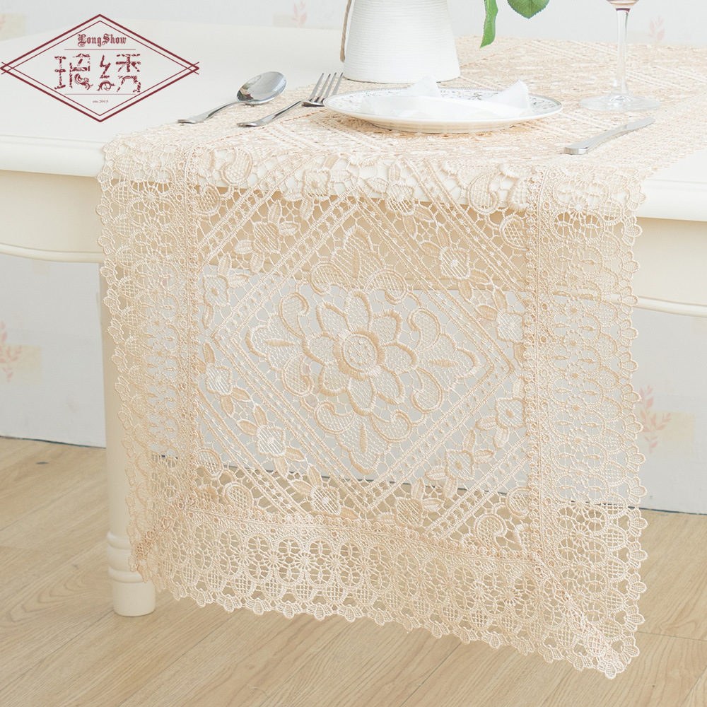 European Pastoral Embroidery Lace Fabric Tablecloth Fashion Hollow Table Cloth Set Runner Covers