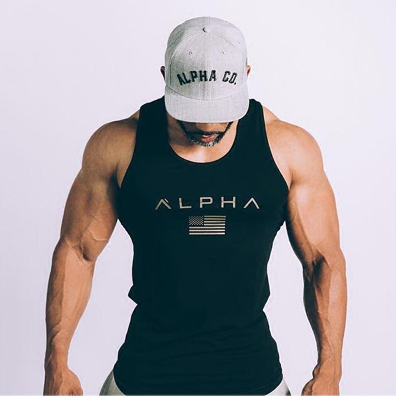 2018 New ALPHA Brand vest bodybuilding clothing and fitness men undershirt   tank     tops     tops   golds men undershirt