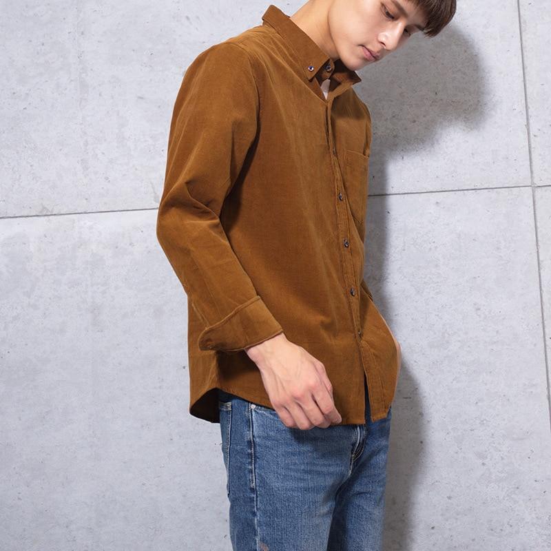 100% Cotton Vintage Corduroy Dress Shirt Men Slim Fit New Casual Shirts Mens Brand Long Sleeve Clothes Camisa Hombre TS-381 4
