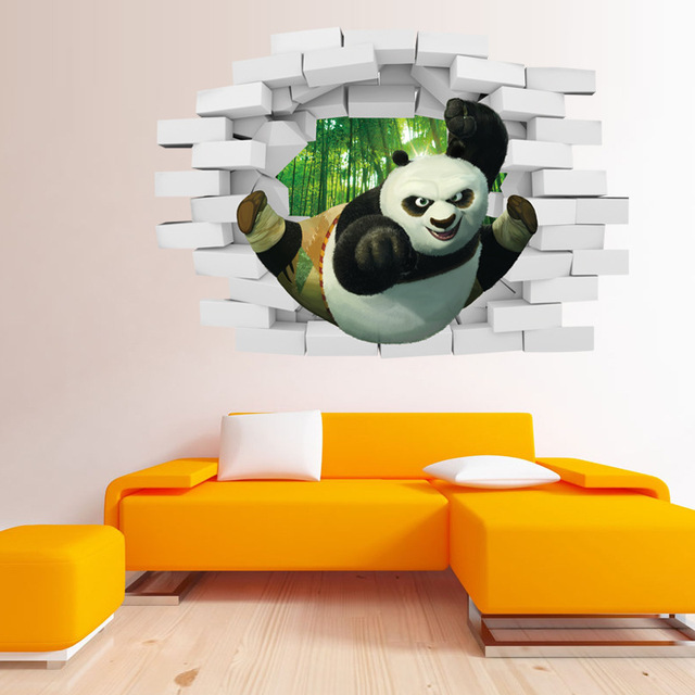 Creative Home Decor 3D Wall Stickers Kungfu Panda Pattern For Baby Room Mural Art Decal Wallpaper