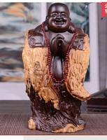 Ebony Buddha maitreya ornaments laughing Buddha mahogany carving black sandalwood Ebony Laughing lucky Handmade sculpture