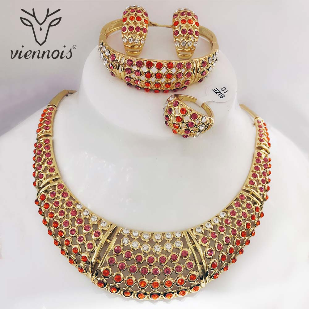 Viennois Chunky Gold Color Stud Earrings Red Rhinestone Crystal Jewelry Set for Women Jewelry Sets New viennois new blue crystal fashion rhinestone pendant earrings ring bracelet and long necklace sets for women jewelry sets