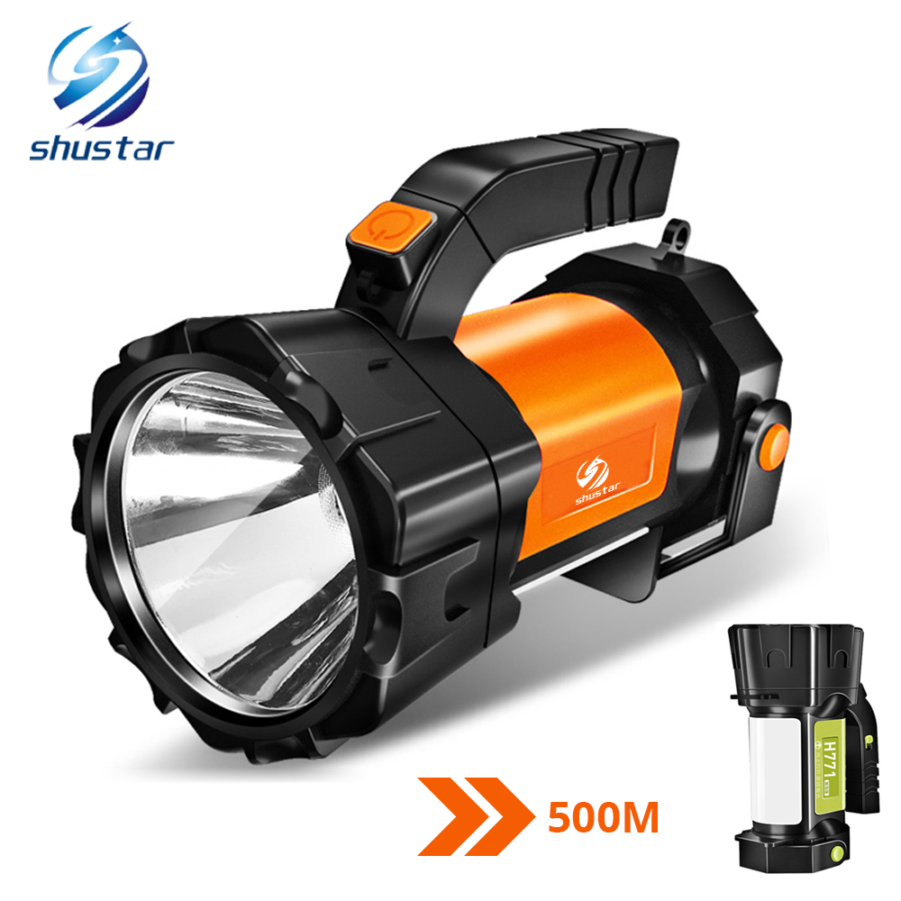 Super Bright LED Searchlight Flashlight With Side Light 6 Lighting Modes Powered By 18650 Battery For Outdoor Camping
